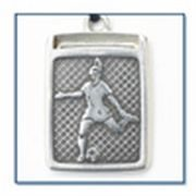 Sports Jewelry - Soccer female Keychain - Sterling Silver